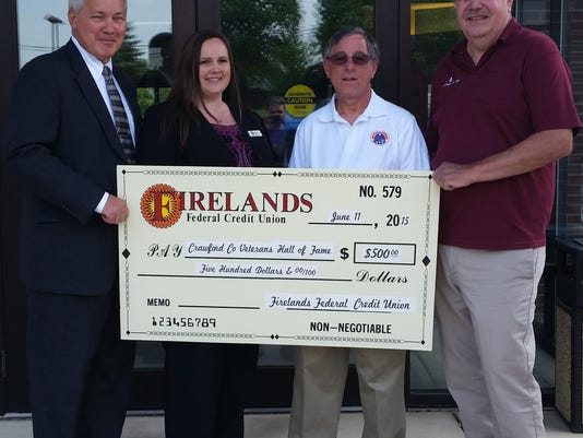 Firelands Donates to Veterans Hall of Fame
