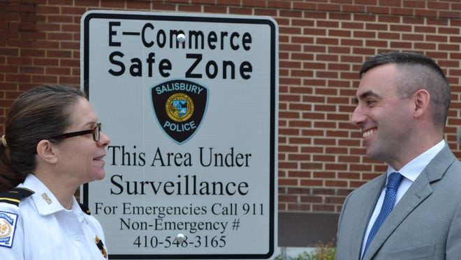 Salisbury Police Chief Barbara Duncan and Mayor Jake Day announced a new E-Commerce Safe Zone in front of police headquarters on Tuesday. This will help level the playing field to protect all parties from danger, fraud and the risk of buying stolen property.