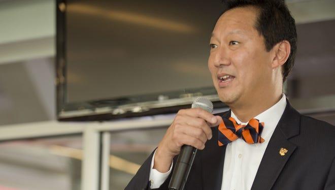 University of Cincinnati President Santa Ono speaks at the CISE kickoff celebration.