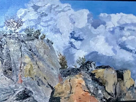 Bold strokes capture rugged mountain in this painting