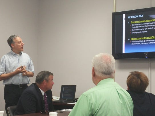 Economic consultant Randall Gross makes a presentation