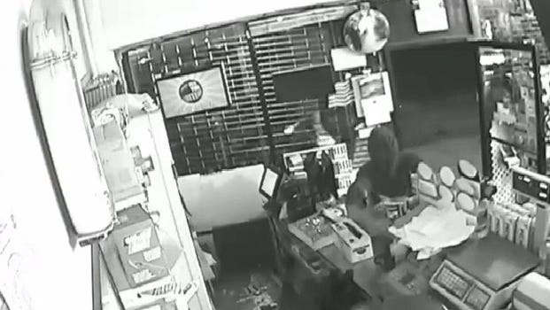 Armed robbery surveillance video still image from 821 McLean Ave. in Yonkers.