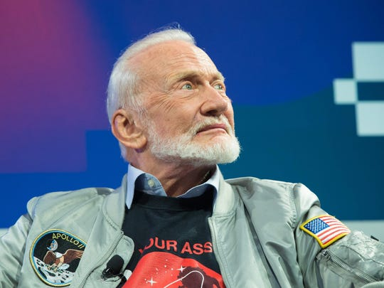Buzz Aldrin participates in a featured session during The South by Southwest (SXSW) Interactive Conference at the Austin Convention Center on Tuesday, in Austin, Texas.