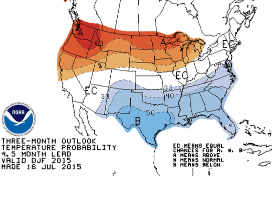 The winter temperature forecast from the Climate Prediction