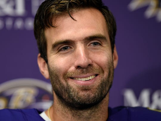 FILE - In this Sept. 23, 2018, file photo, Baltimore Ravens quarterback Joe Flacco speaks at a news conference after an NFL football game against the Denver Broncos, in Baltimore. Flacco is slinging the ball to a variety of receivers, the running game is solid and the Ravens are ringing up touchdowns behind a revamped, effective offense. (AP Photo/Gail Burton, File)