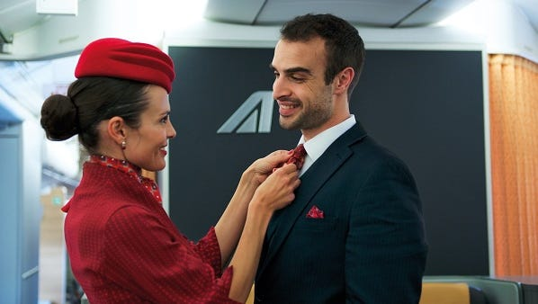 These new cabin crew uniforms were among those rolled out by the carrier in 2016.