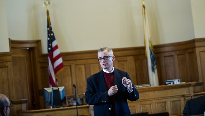 Former Gov. Jim McGreevey addresses guests, family and friends at the 8th Annual Drug Court Graduation Ceremony at the Historic Somerset County Courthouse in Somerville on Monday Oct. 19, 2015.