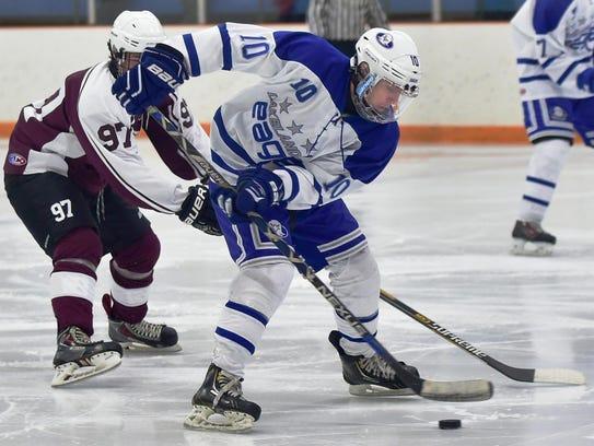 Lakeland's Blake Kocsis (10) controls the puck in against