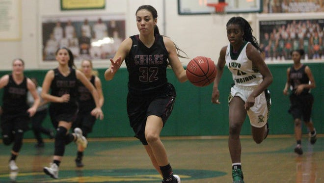 Chiles senior Maleri Mills dribbles up court for layup against Lincoln on Wednesday night.