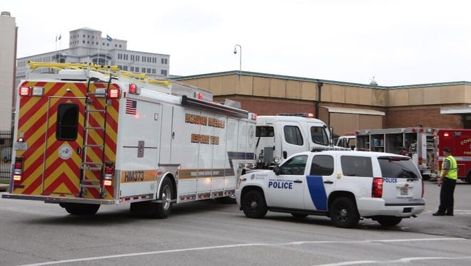 File photo of Hazmat crew arriving at the Covington IRS facility during a previous incident.