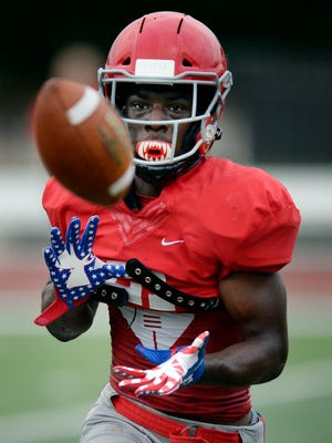 Brentwood Academy defensive back Tahir Annoor runs a drill during practice Monday, July 23, 2018, in Brentwood, Tenn.