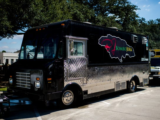 The Bombo Jerk food truck is parked for lunch service