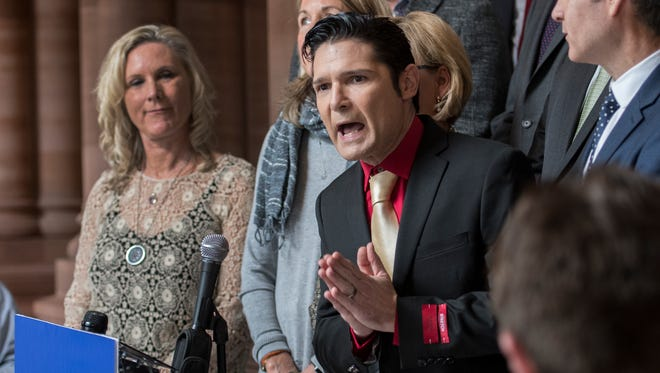 Former child actor Corey Feldman, who says he was sexually molested as a young teen, speaks at the State Capitol in Albany, N.Y., in support childhood sex abuse victims and their decade-long effort to get the New York state Senate to pass the Child Victims Act.