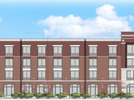 An elevation of the 123-room Hampton Inn & Suites hotel