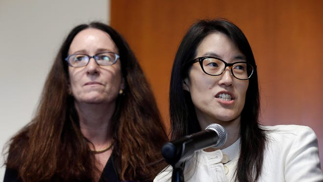 Ellen Pao, right, gives a statement to reporters next to her attorney Therese Lawless on Friday.