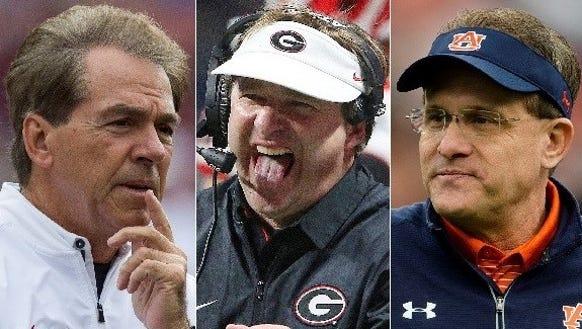 Nick Saban (Alabama), Kirby Smart (Georgia) and Gus