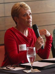 La Quinta City Council candidate Kathleen Fitzpatrick speaks during the La Quinta Chamber of Commerce candidate forum at PGA West, September 21, 2016.