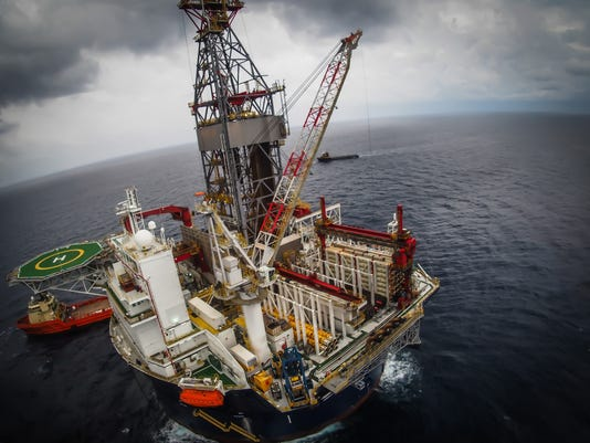 Offshore oil drilling rig or platform, aerial view, petroleum industry