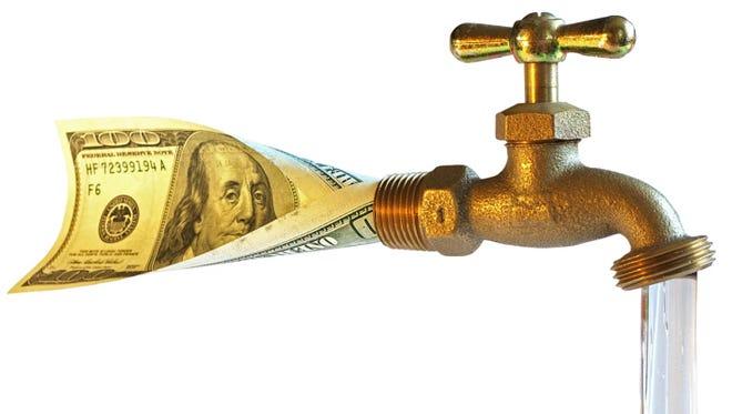 faucet, processing dollars in water