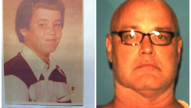 Brooks Bellay pictured in a school photo, left, prior to the 1979 murder of 4-year-old Angel Halstead, and again in a more recent jail photo.