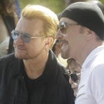 Bono, left, and The Edge of the Irish rock band U2