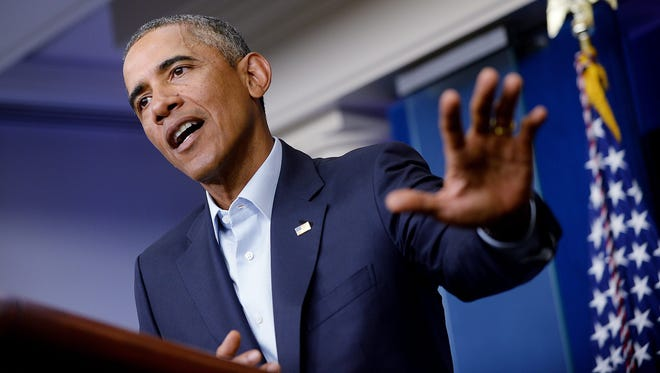 President Obama delivers a statement in the Brady Press Briefing Room of the White House  on Aug. 18, 2014.