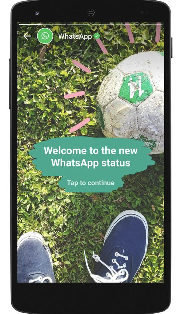 A phone screen showing WhatsApp Status