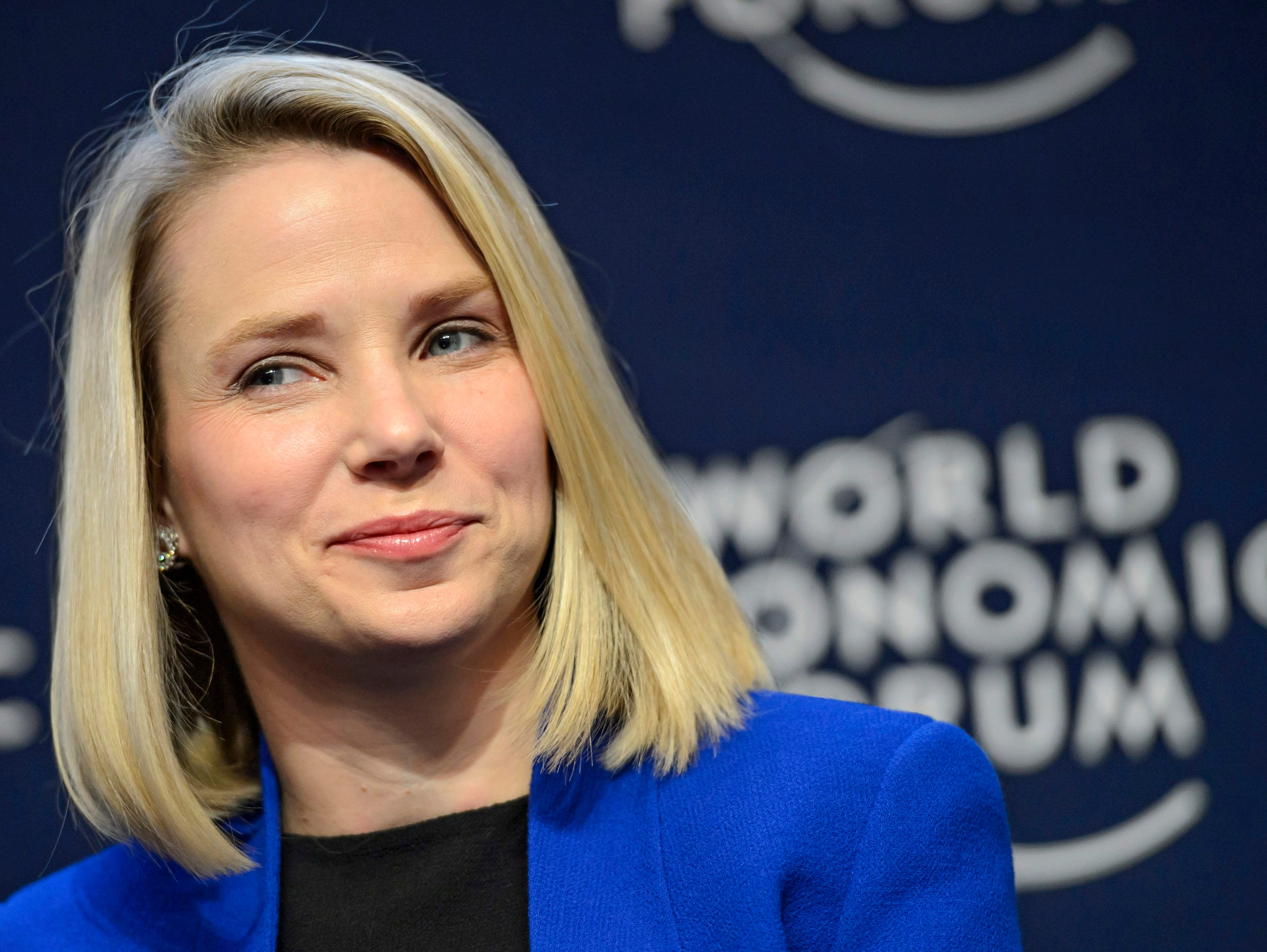 Yahoo CEO Marissa Mayer on Jan, 22, 2014 during a panel session on the first day of the 44th Annual Meeting of the World Economic Forum (WEF) in Davos, Switzerland.