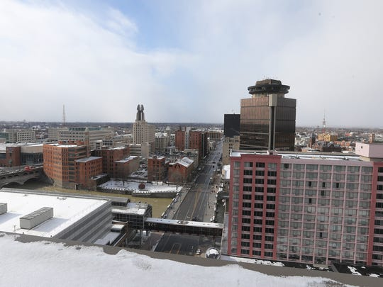 The view from a rooftop employee lounge at CGI Communications in downtown Rochester is part of the company's renovations.