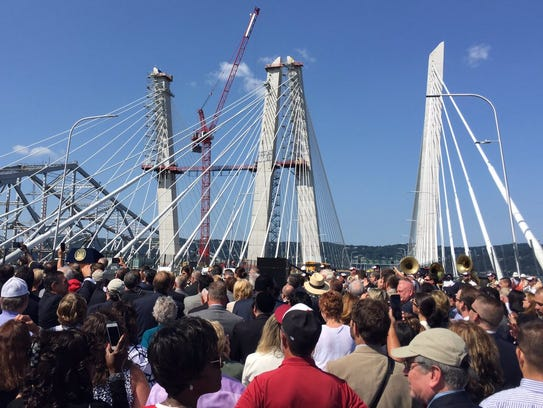The crowd gathers for the Gov. Mario M. Cuomo bridge,