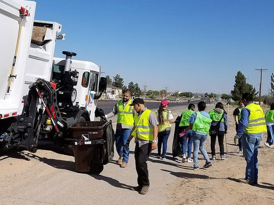 Sunland Park volunteers along McNutt road were assisted by the SCSWA side loader trash truck, taking almost one ton of blown litter by the end of the day.