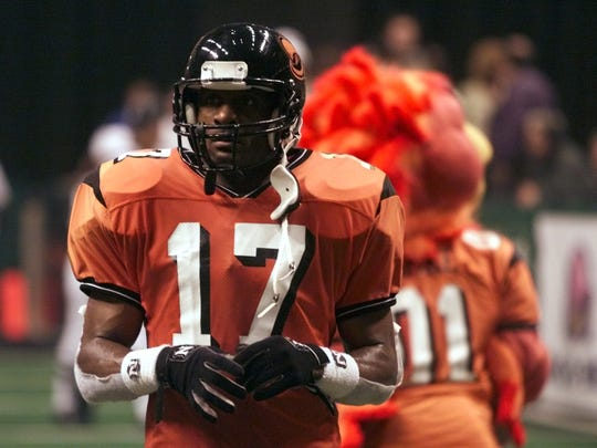 """FILE – Former Indiana Firebirds star """"Touchdown"""" Eddie Brown was voted among Arena League's all-time greats."""