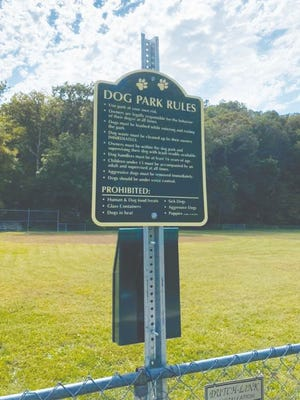 The dog park rules posted at the new Linn Creek dog park.