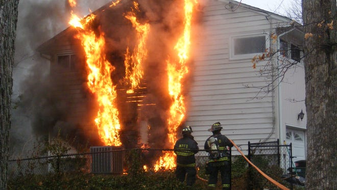 Firefighters battled an early morning blaze in Midland Park Friday.