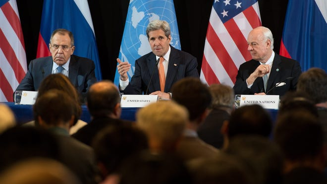 Secretary of State John Kerry, Russian Foreign Minister Sergei Lavrov (left) and U.N. Special Envoy of the Secretary-General for Syria Staffan de Mistura (right) hold a press conference after the International Syria Support Group (ISSG) meeting in Munich, Germany, Feb. 11, 2016.