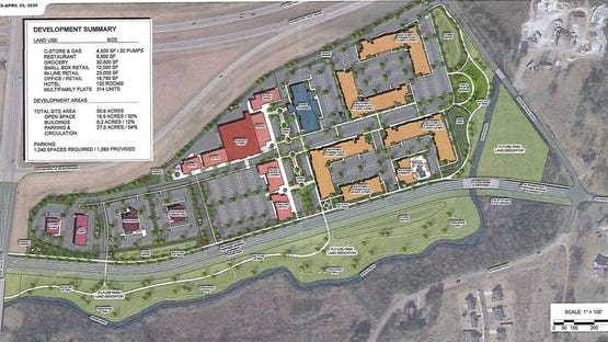 The 50-acre Spring Hill Towne Crossing development would feature more than 50,000 square feet of retail, restaurant and/or office space, along with a 30,500 square-foot grocery store, a 120-room hotel, more than 300 multi-family units and a convenience store/gas station.