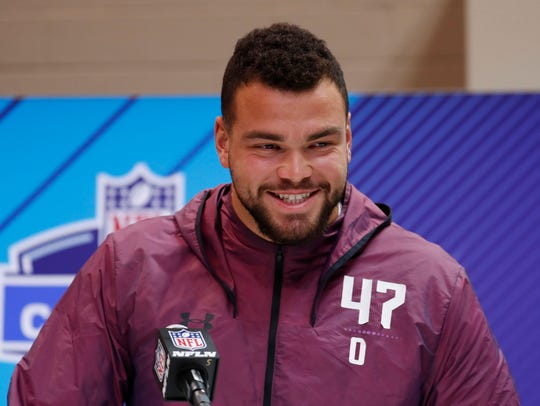 Texas offensive lineman Connor Williams speaks to the