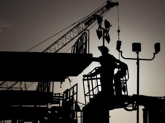 Crews work at the Flatiron-Dragados's pre-cast yard