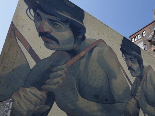 """One Man Army"" a mural by Spanish artist Aryz on 25"