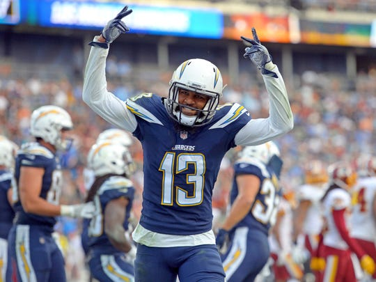 Los Angeles Chargers wide receiver Keenan Allen (13) celebrates after a Chargers third quarter touchdown against the Washington Redskins at StubHub Center.