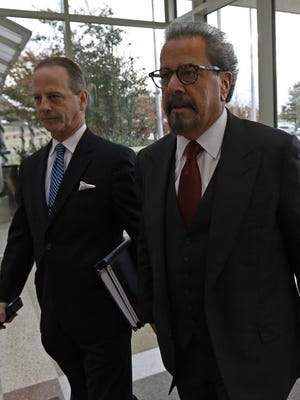 Special prosecutors Brian Wice, left, and Kent Schaffer enter the Collin County Courthouse for a December 2015 pretrial hearing in the criminal case against Texas Attorney General Ken Paxton.