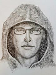 This sketch released Monday, Sept. 25, 2017, by the FBI shows a person of interest in the Sept. 6, 2017, pipe bomb explosion at the post office in East Chicago, Ind. (FBI via AP)