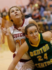 Audrey Strawsma of Benton Central and Halle Bares of McCutcheon work positon in the Franciscan Health Hoops Classic Friday, November 17, 2017, at Harrison High School. Benton Central defeated McCutcheon 42-32 to advance to Saturday's championship game.