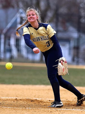 Pequannock's Blue & Gold softball tournamentJefferson vs. Indian Hills. Indian Hills pitcher #3 Angela Saric Saturday April 7, 2018 photo by Ed Pagliarini