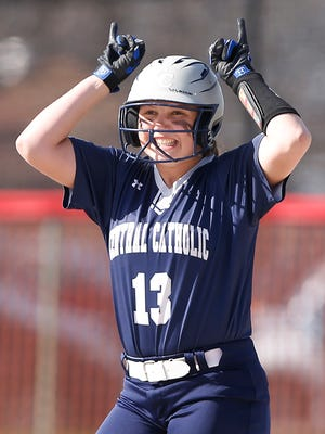 Sydney Rose of Central Catholic reacts after hitting a double to right against West Lafayette in the top of the second inning Wednesday, April 25, 2018, in West Lafayette. Central Catholic defeated West Lafayette 19-0.