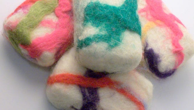 """Crafters will create colorful felted soap at the Saturday, Jan. 20, Craftermorning program at the Fond du Lac Public Library. Free; supplies provided, but persons with sensitive skin must provide their own new bar of soap. Open to adults and teens age 13 and older. Space is limited. Sign-up starts at 9:30 a.m. Saturday, Jan. 6, online at fdlpl.org, click """"Calendar."""""""