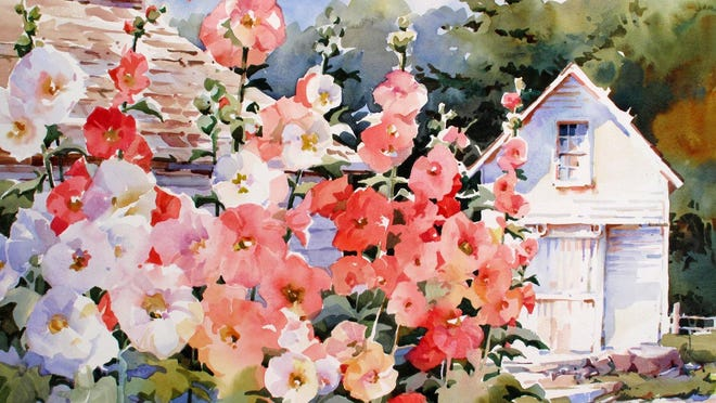 """Roadside Hollyhocks, Ephraim,"" watercolor by Bridget Austin, whose work is featured from July 16 to 30 at Cottage Row Gallery."