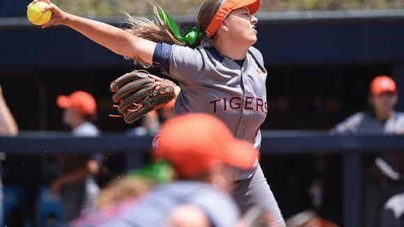 Auburn pitcher Kaylee Carlson allowed just three hits in a complete victory as the Tigers defeated South Carolina-Upstate 6-1 Saturday in the NCAA Auburn Regional on May 21, 2016.