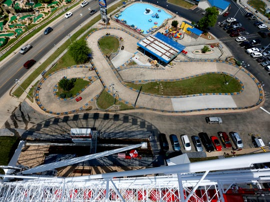 The go-kart course at The Track Family Fun Park can be seen from the Branson Ferris Wheel.