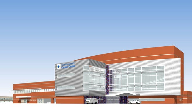An illustration shows the proposed look of the new Intermountain Cancer Center, one of four new buildings planned to move in as part of a $300 million expansion project at Dixie Regional Medical Center.